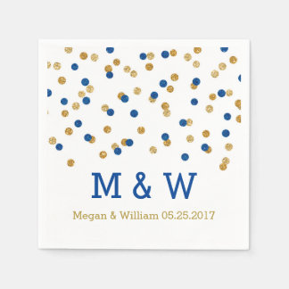 Navy Blue Gold Confetti Wedding Monogram Disposable Serviettes