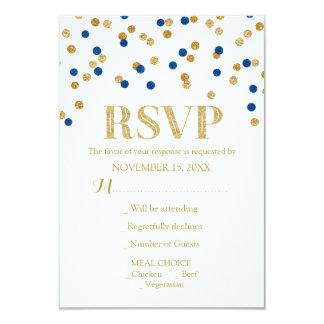 Navy Blue Gold Confetti Wedding RSVP Cards 9 Cm X 13 Cm Invitation Card