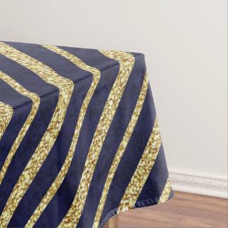 Navy Blue & Gold diagonal stripes Tablecloth