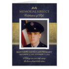 Navy Blue & Gold Elegance Memorial Service Invite
