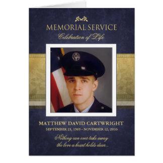 Navy Blue & Gold Elegance Memorial Service Invite Card