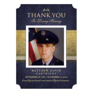 Navy Blue & Gold Elegance Thank You Memorial Card 13 Cm X 18 Cm Invitation Card