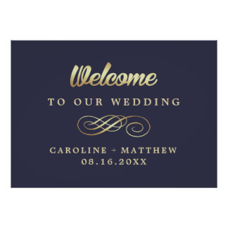 Navy Blue | Gold Elegant Wedding Welcome Sign