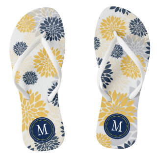 Navy Blue Gold Floral Monogram Thongs