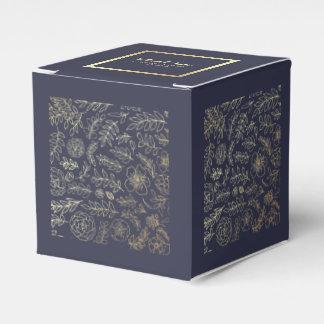 Navy Blue | Gold Floral Wedding Favor Boxes