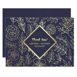 Navy Blue | Gold Floral Wedding Thank You Cards
