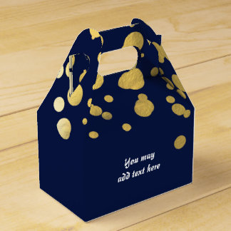 Navy Blue & Gold Foil Confetti Party Favor Boxes