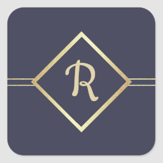 Navy Blue | Gold Foil Monogram Wedding Stickers