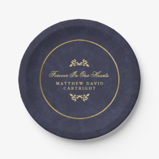 Navy Blue & Gold Forever In Hearts Memorial Plates