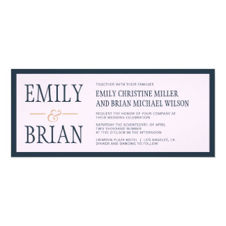 Navy Blue Gold Modern Simple Wedding Invitation