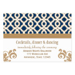 Navy Blue Gold Moroccan Reception Enclosure Card Business Card Templates