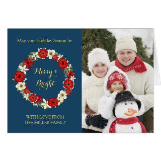 Navy Blue Gold Red Floral Wreath Christmas Photo Card