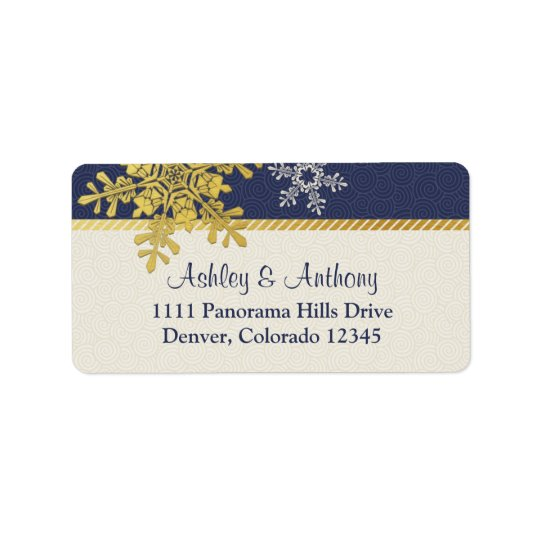 Navy Blue Gold Snowflake Winter Wedding Address Address Label