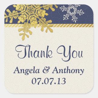 Navy Blue Gold Snowflake Winter Wedding Stickers