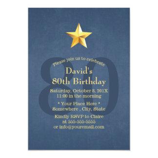 Navy Blue Gold Star 80th Birthday Party 13 Cm X 18 Cm Invitation Card