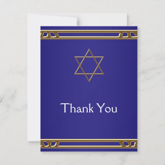 Navy Blue Gold Star of David Thank You Cards