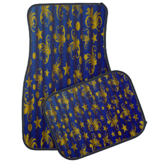 Navy Blue Gold Stars Moon Damask Set of 4 Car Mats