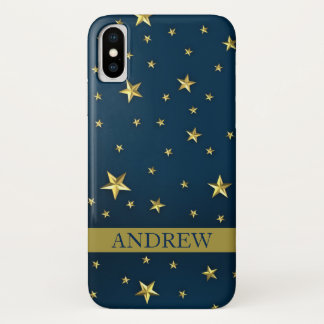 Navy Blue Gold Stars Personalized iPhone X Case