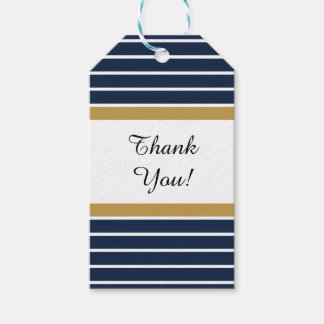 Navy Blue Gold Stripes Thank You Gift Tags
