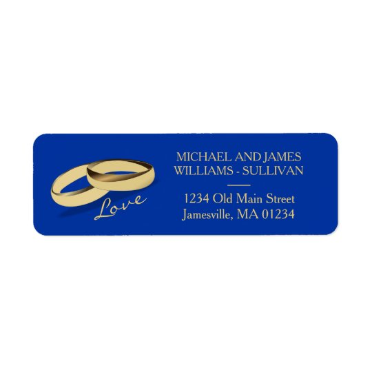 Navy Blue & Gold Wedding Address Labels Two Grooms
