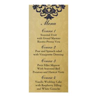"""navy blue""  gold Wedding menu Custom Rack Card"