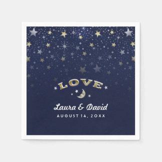 Navy Blue Gold & White LOVE Moon & Stars Wedding Paper Napkin