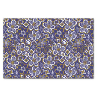 Navy Blue, Gold, White Whimsical Floral Flower Tissue Paper