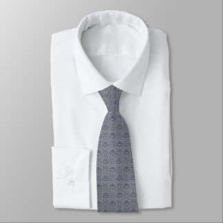 Navy Blue & Gray Damask Faux Woven Fabric Pattern Tie