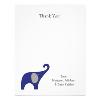 Navy Blue Gray Elephant Baby Thank You Notes Personalized Invitations