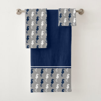 Navy Blue Gray Seahorse Pattern Bath Towel Set