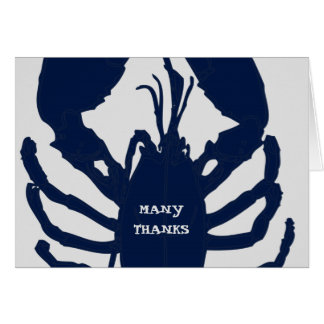 Navy Blue Gray Thank You Lobster Hospitality Cards