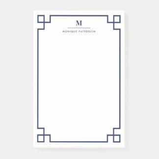 Navy Blue Greek Key Border Monogram Personalized Post-it Notes