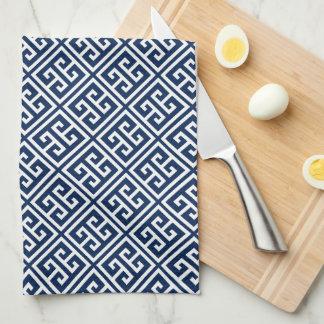 Navy Blue Greek Key Pattern Tea Towel