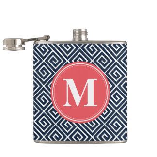 Navy Blue Greek Key Pattern Watermelon Monogram Hip Flask
