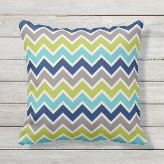 Navy Blue Green and Grey Chevron | Cushions