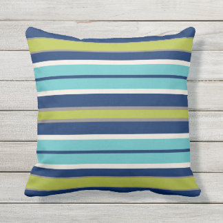 Navy Blue Green and Grey Stripes | Outdoor Cushion