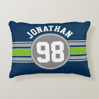 Navy blue Green Auto Racing Stripes Name Number Decorative Cushion