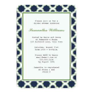 Navy Blue & Green Quatrefoil Pattern Bridal Shower Card