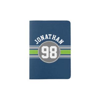 Navy Blue Green Sports Jersey Stripes Name Number Passport Holder