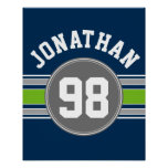 Navy blue Green Sports Jersey Stripes Name Number Poster
