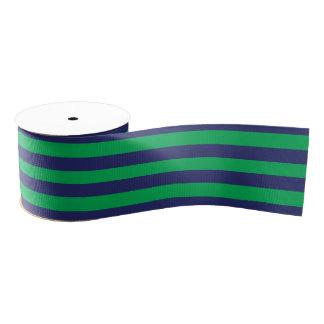 Navy Blue & Green Striped | Any Length | Custom Grosgrain Ribbon