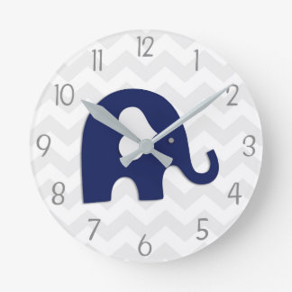 Navy Blue Grey Elephant Nursery Wall Clock