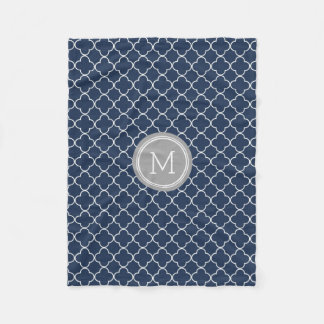 Navy Blue Grey Quatrefoil Pattern Monogram Blanket