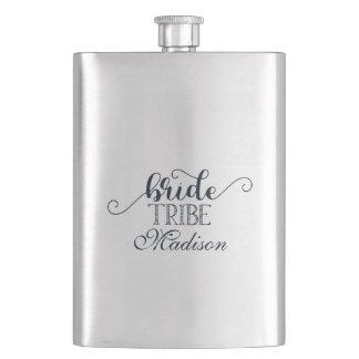 Navy Blue Hand Lettered Font Wedding Bride Tribe Hip Flask