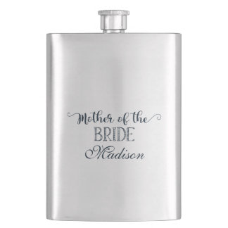 Navy Blue Hand Lettered Mother of the Bride Hip Flask