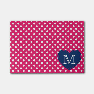 Navy Blue Heart and Raspberry Polka Dot Monogram Post-it Notes