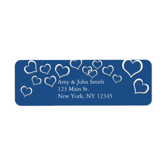 Navy blue heart confetti wedding design bhp return address label