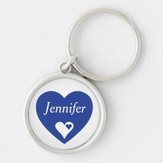Navy Blue Heart Personalized Love Keychain