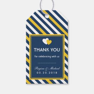 Navy Blue Heart Stripes Pattern Wedding Gift Tag