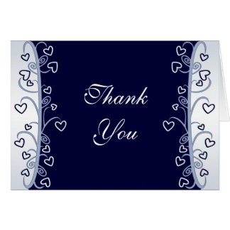 Navy Blue Hearts Scrolls Thank You Card